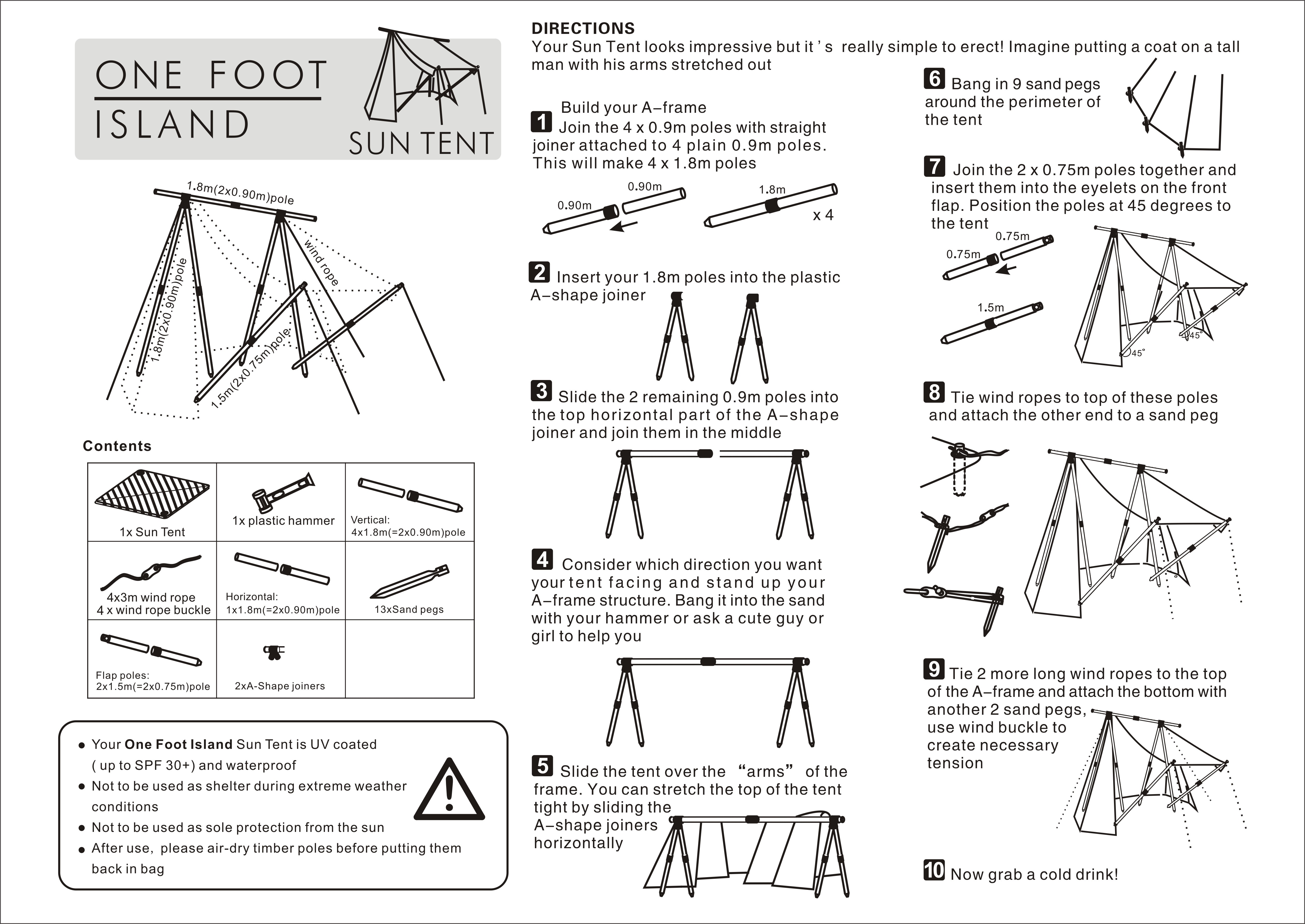 Instructions For Suns Tent Onefootisland Sun Shades